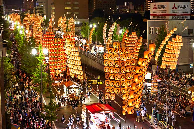 Procession of lanterns, Akita Kanto Festival, Akita, Japan © JNTO - courtesy of Japan National Tourism Office