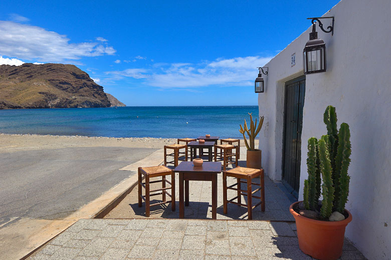 Beach and café at Las Negras, Cabo de Gata Almería © Jam World Images - Alamy Stock Photo