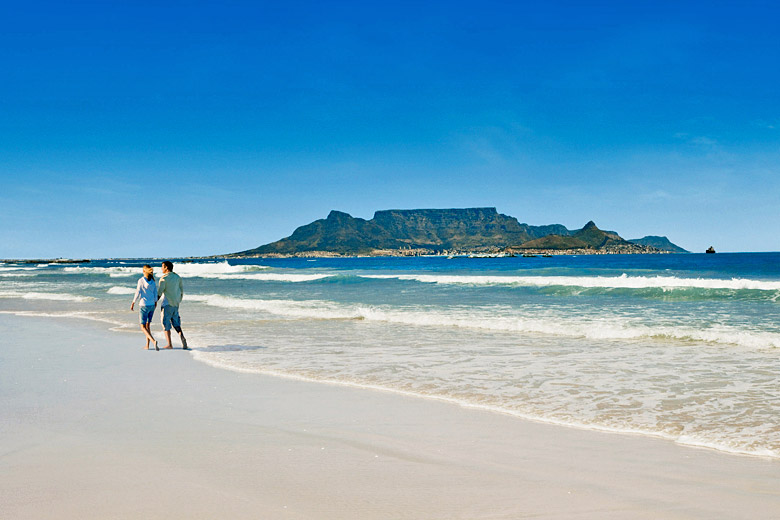 Characteristic blue skies over Table Mountain, Cape Town - photo courtesy of South African Tourism