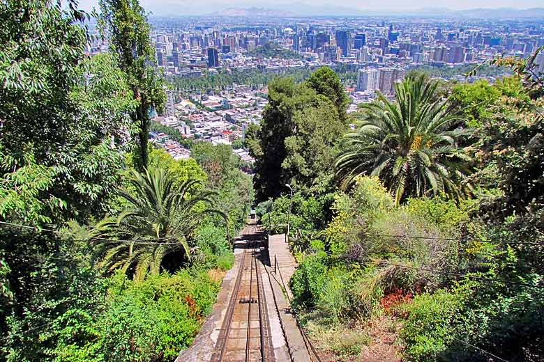 View from the funicular, Cerro San Cristobal, Santiago, Chile © Falk2 - Wikimedia Commons