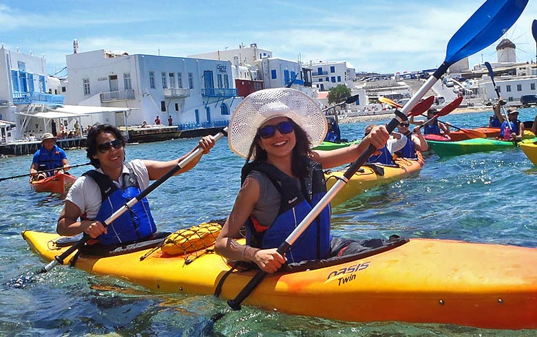 Day out kayaking in Mykonos - photo courtesy of www.mykonoskayak.com
