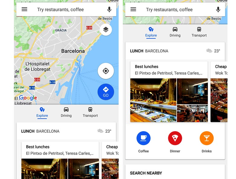 Find cafés, bars, shops and more with the 'explore' function