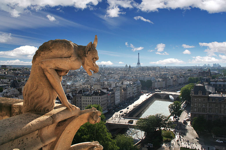 Gargoyle of Notre Dame Cathedral watching out over Paris © Dan Breckwoldt - Shutterstock.com