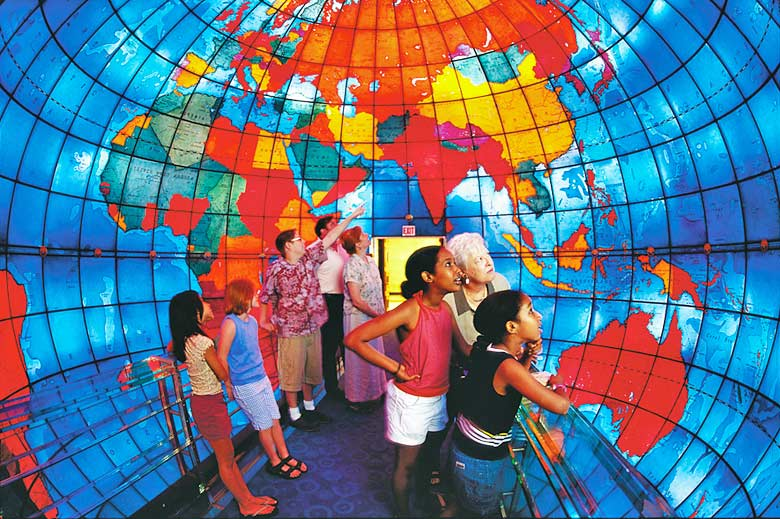 Inside the giant globe at the Mapparium, Boston - photo courtesy of Mary Baker Eddy Library