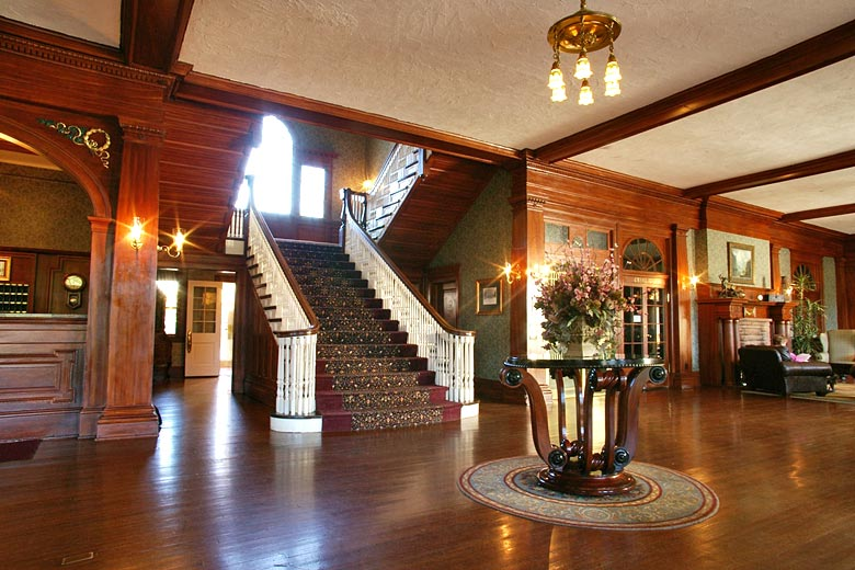 Grand staircase in the Stanley Hotel, Estes Park, Colorado - photo courtesy of www.stanleyhotel.com