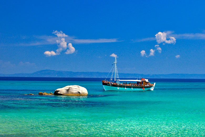 Exploring Kavourotripes from the sea - photo courtesy of Prefecture of Halkidiki