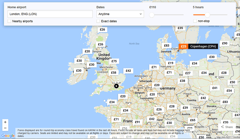 KAYAK Explore map: Flights by Budget © KAYAK