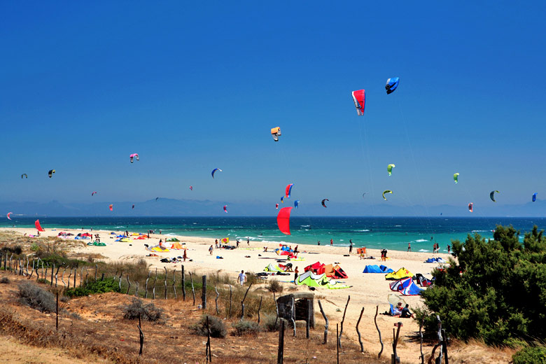 Kitesurfers and Sunbathers on Tarifa Beach, Costa de la Luz © Nick Stubbs