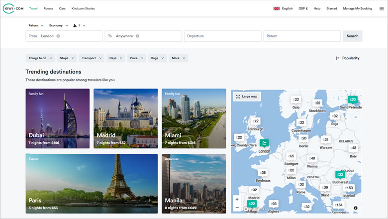 Kiwi.com Explore - discover trending destinations worldwide in 2020/2021