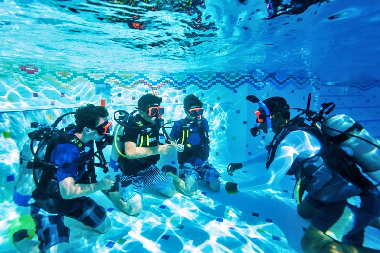 Learning to scuba dive at Beaches resort - photo courtesy of Beaches