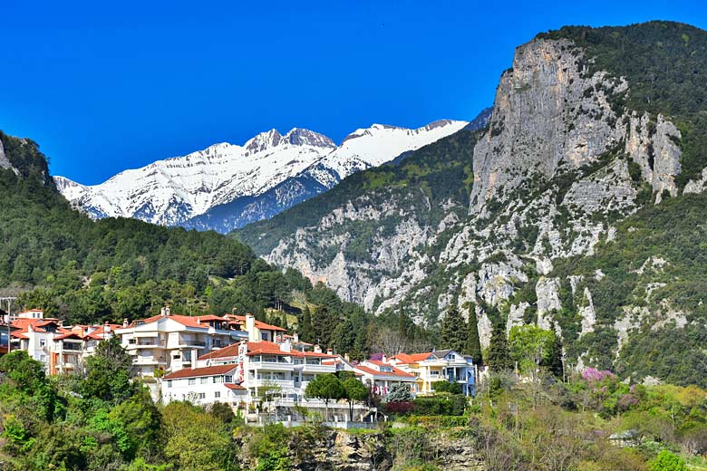 Litochoro in spring with Mount Olympus beyond © Calin Stan - Fotolia.com