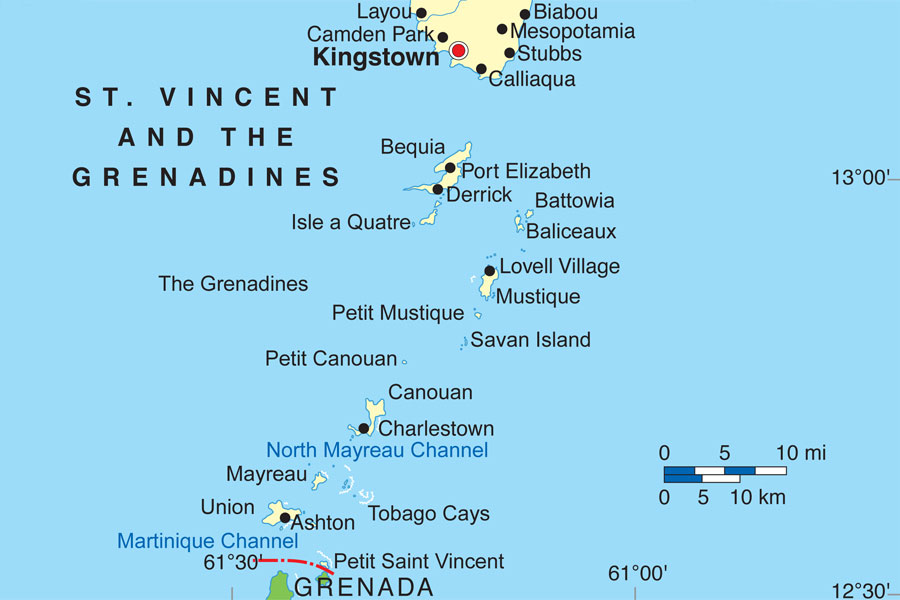The Grenadines - map courtesy of St. Vincent & The Grenadines Tourism Authority