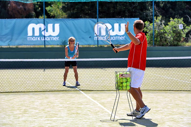 One to one session with LTA accredited coach with Mark Warner - photo courtesy of Mark Warner