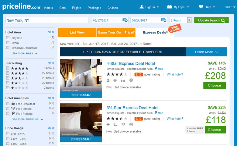 Priceline Express Deals Hotels In New York