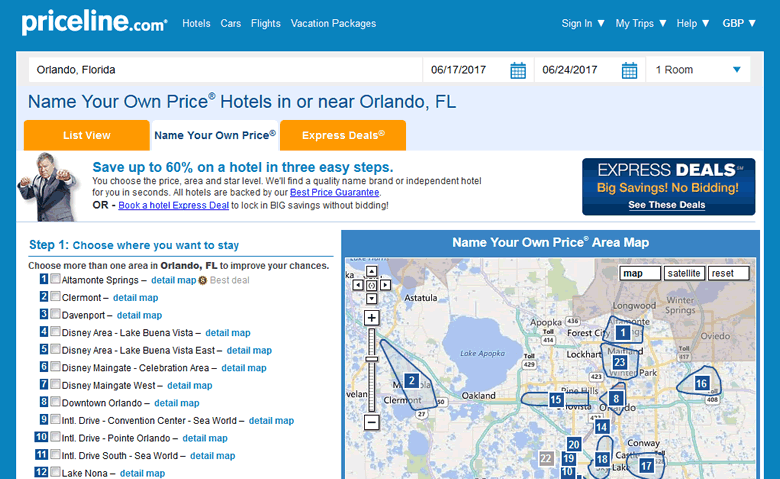 Priceline Name Your Own Price®: Orlando hotel bidding