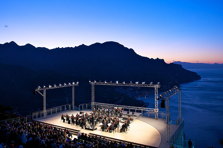 The dramatic backdrop to the Ravello Festival at Villa Rufolo © Roberto Vuilleumier - Campania Tourism Office