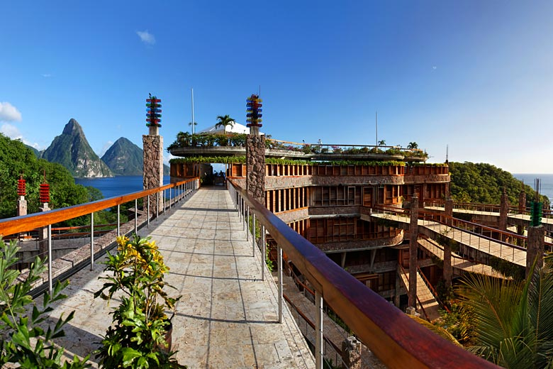 Entrance to the restaurant at Jade Mountain Resort © imageBROKER - Alamy Stock Photo