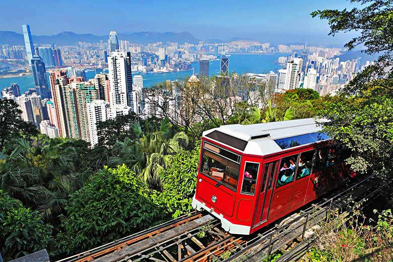 Riding the Peak Tram to the top of the Peak © leungchopan - Fotolia.com
