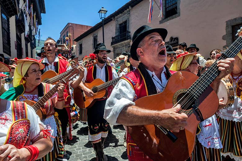 Singing and dancing in the street at a romería in La Oratava - photo courtesy of Tenerife Tourism Corporation