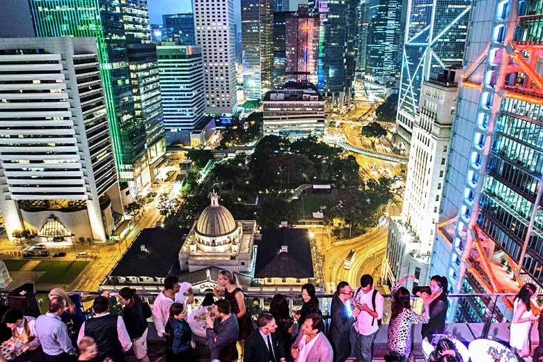 Deliciously decadent rooftop bar in the centre of Hong Kong - photo courtesy of www.sevva.hk