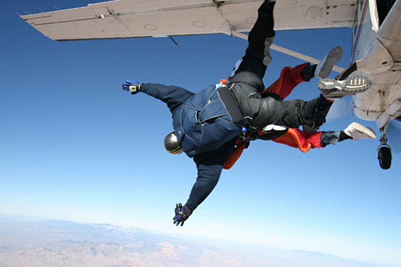 Jumping out in tandem at 15,000 feet - photo courtesy of www.vegasextremeskydiving.com