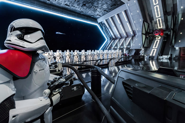 Stormtroopers in formation at Star Wars: Galaxy's Edge, Disneyland Park © Joshua Sudock/Disney Parks