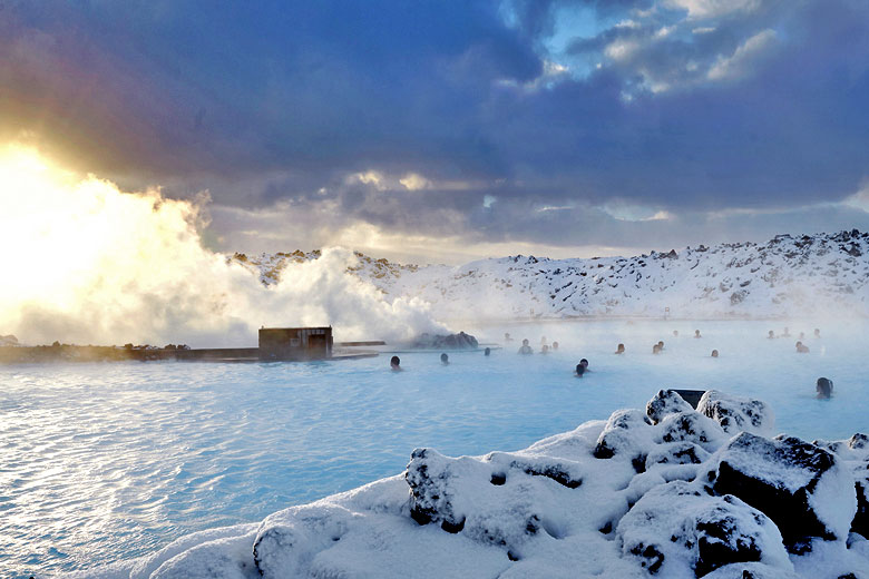 Swimming in the Blue Lagoon in mid winter, Iceland - photo courtesy of www.bluelagoon.com