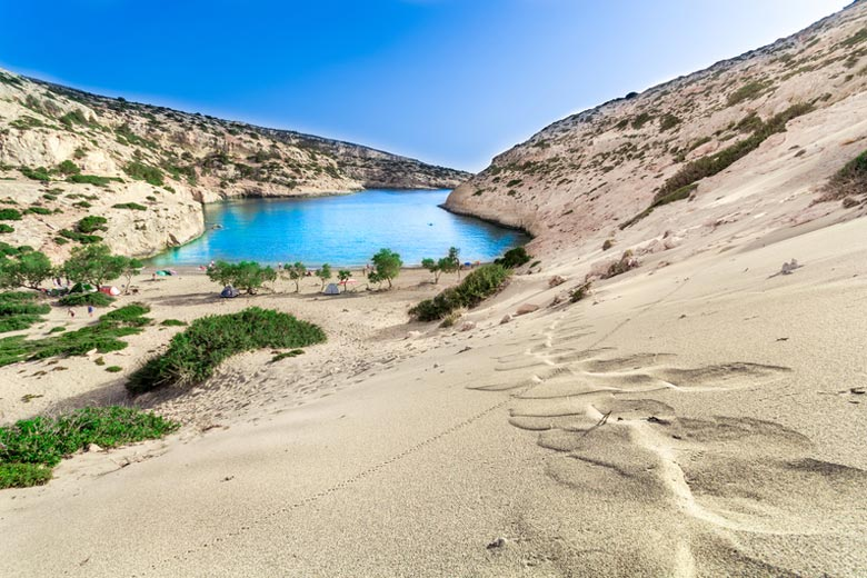 The sheltered cove and beach of Vathi, Crete © Georgios Tsichlis - Dreamstime
