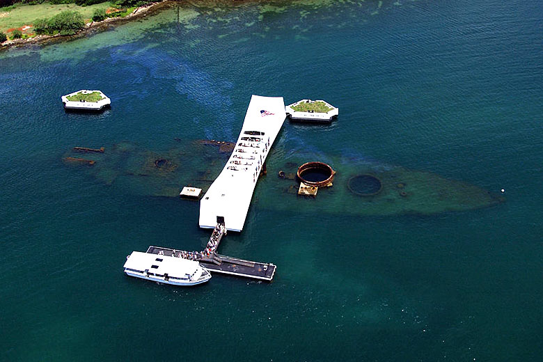 USS Arizona from above at the Pearl Harbor Memorial - photo courtesy of the United States National Park Service