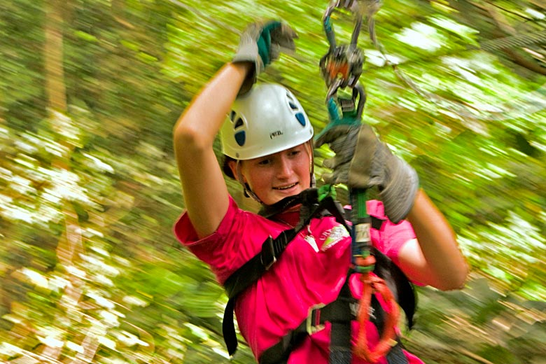 Ziplining through the rainforest canopy in St Lucia - photo courtesy of www.rainforestadventure.com