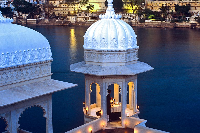Candlelit honeymoon dinner in a palace - photo courtesy of Taj Lake Palace Hotel, Udaipur Rajasthan