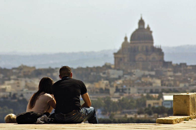 The Church of Xaghra from the Citadel, Gozo © Viewingmalta.com