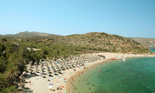 The famous palm forest and beach at Vai, east Crete © Paul Cowan