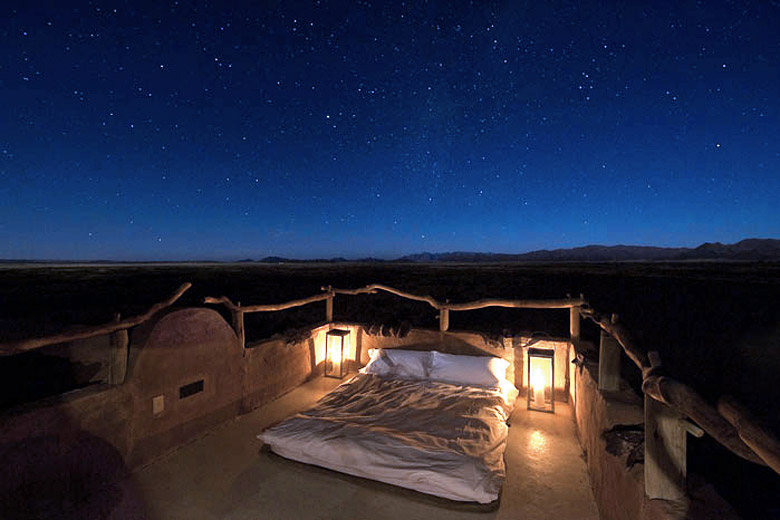 Sleeping under the stars, Sossusvlei, Namibia - photo courtesy of Little Kulala Wilderness Reserve