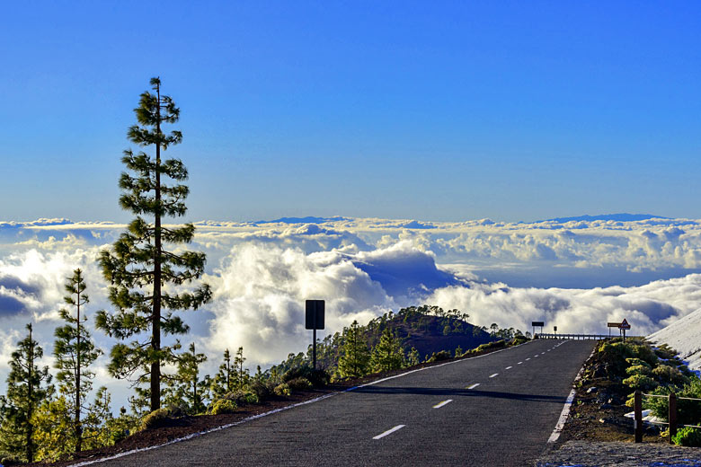 In July Teide is above the clouds because summer weather produces a temperature inversion